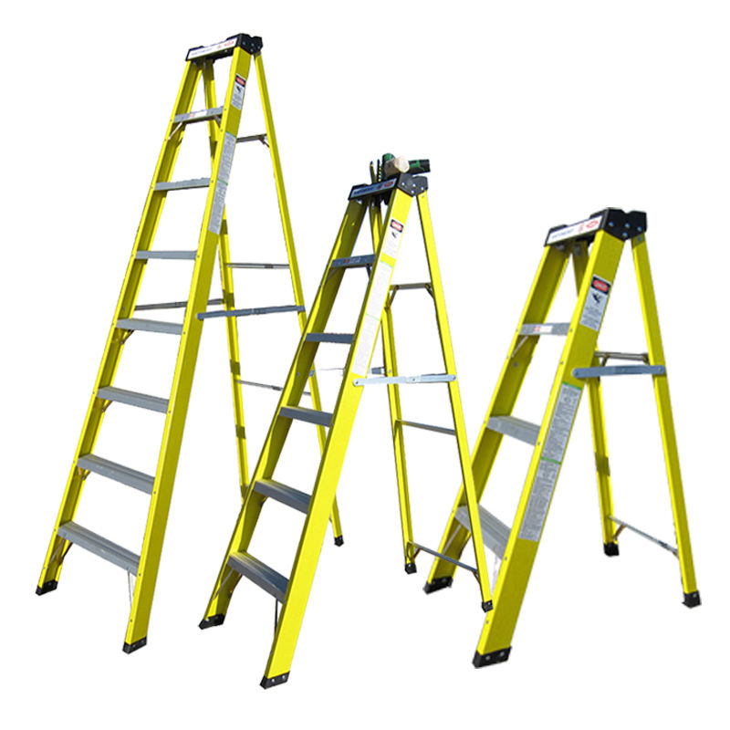 GS EN131 Approved Multi Purpose Three Five 3 4 5 6 7 Step Layers Single Side Wide Fiberglass Climbing Step Ladder