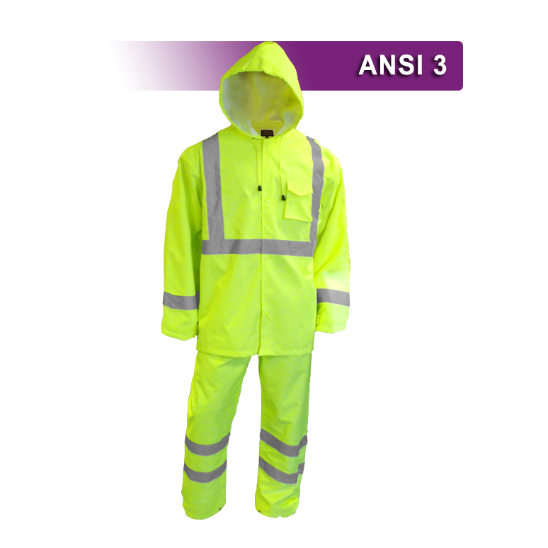 Safety Raingear: Hi Vis Rainsuit: Waterproof Hooded Parka & Pants