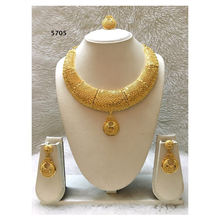 Round Long African Wedding Party Collection Design Gold Color Jewellery