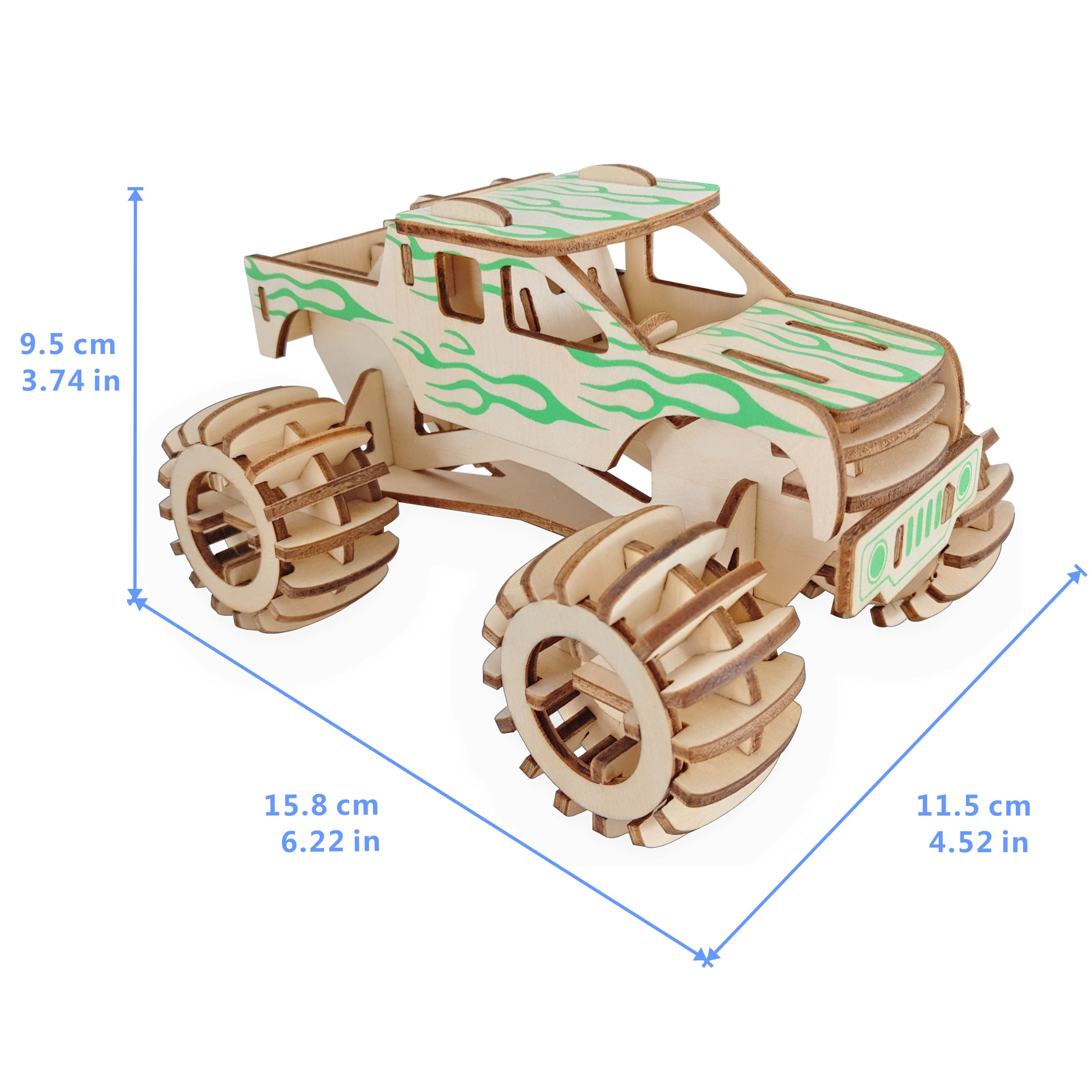 Custom high quality wooden educational toys 3d model monster truck puzzle jigsaw