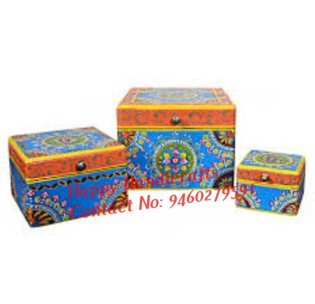 Indian Hand Painted Wooden Boxes Set of Three