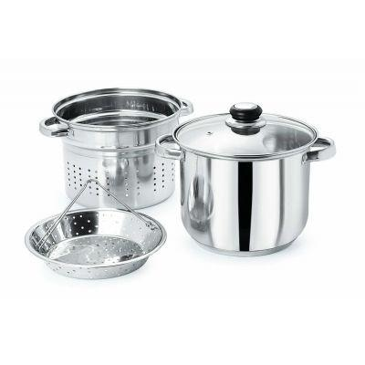 STAINLESS STEEL MULTICOOKER & STEAMER WITH GLASS LID