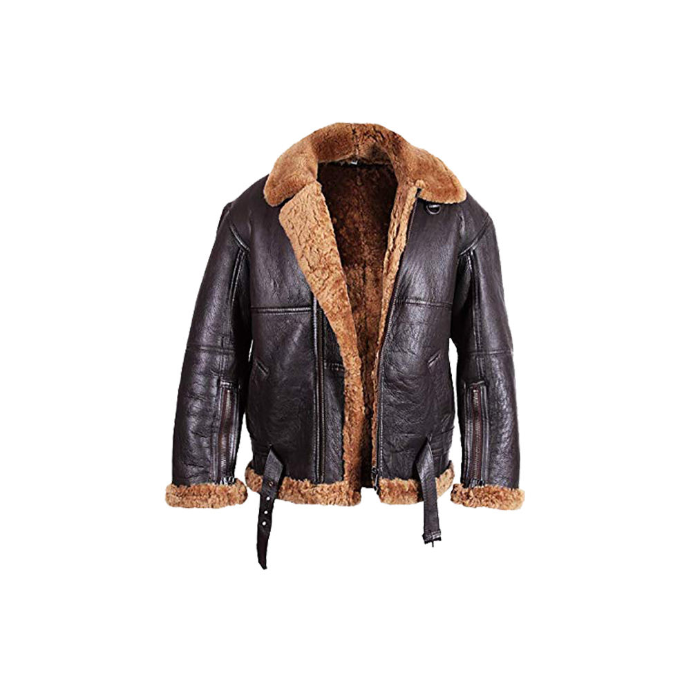 Men Winter Bomber Real Shearling Sheepskin Jacket /Dark Brown Winter Real Fur Jacket/Latest Sheepskin Leather men's Jacket