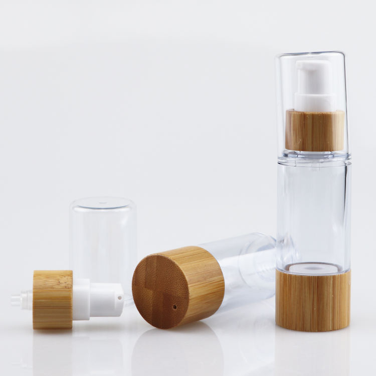 Eco-friendly bamboo cosmetic packaging airless pump bottle for cream 30ml