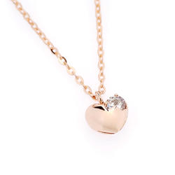 Heart Cubic Point Link Chain Cutie Necklace(14K pink gold)