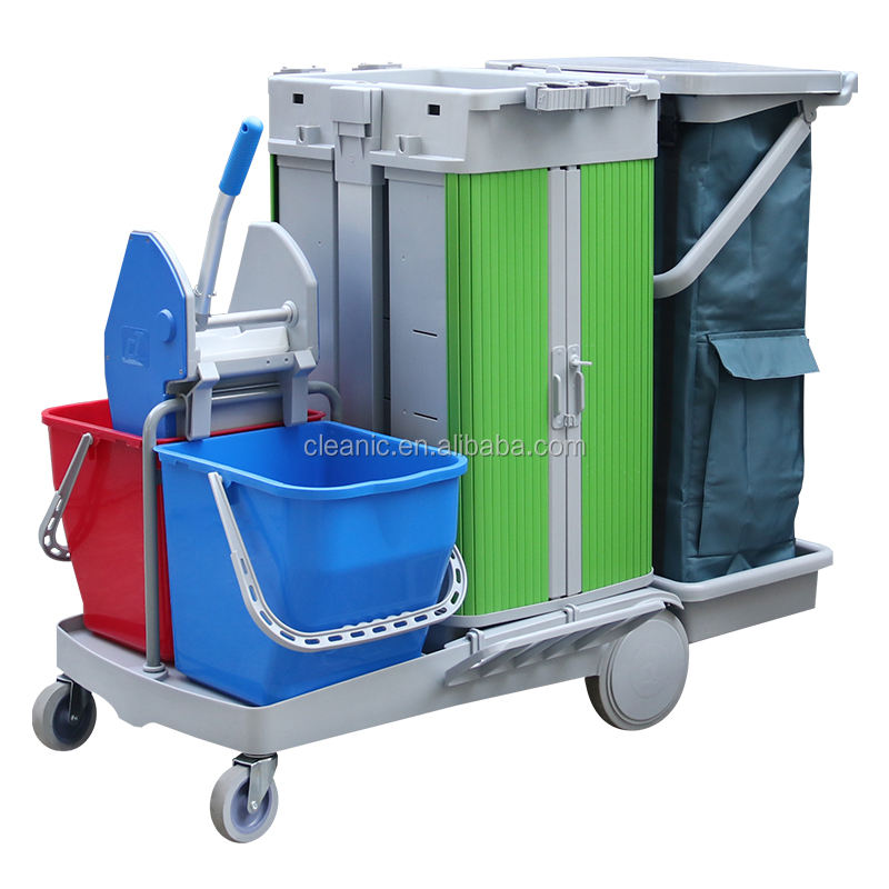 Best Quality Plastic Multipurpose Hotel Airport Shopping Mall Cleaning Trolley with Sliding Door and Down Press Wringer Bucket