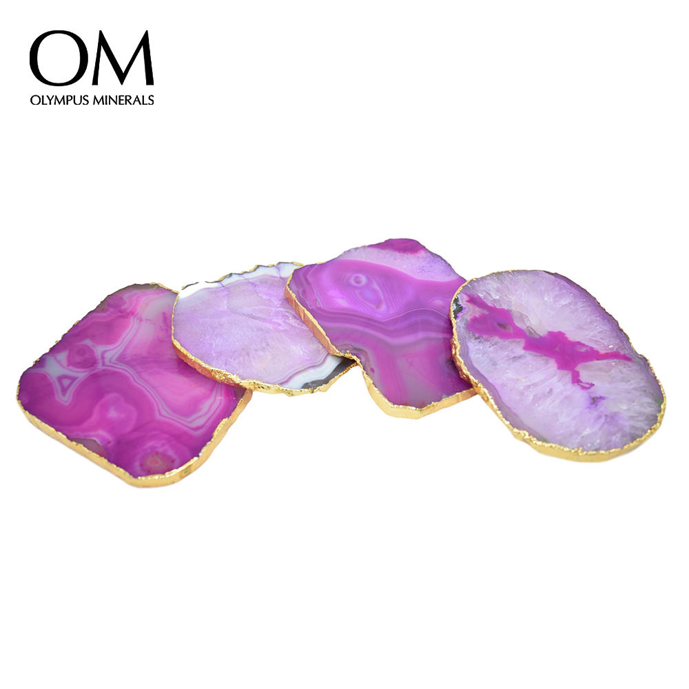 Pastel Pink Agate Gnarled Coasters with Gold Trim, Set of 4