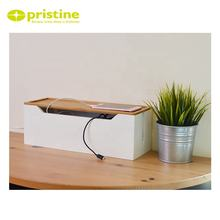 Ready to ship bamboo cable cord wire junction storage box management organizer box with white color organizer