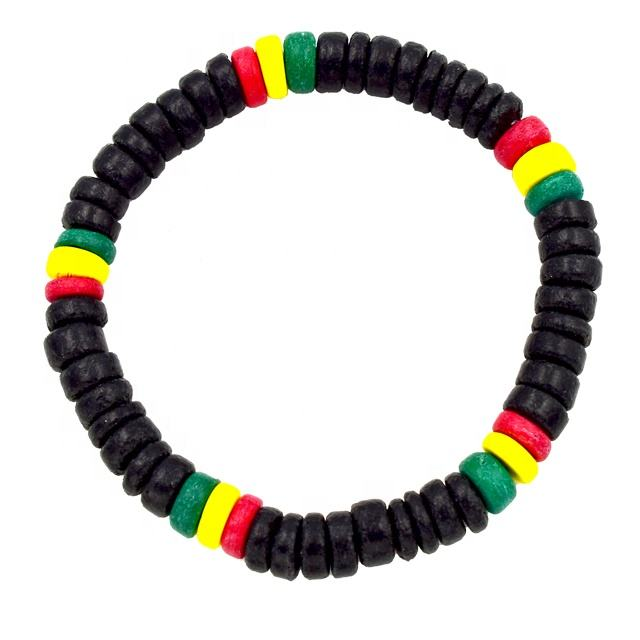 Coconut Rasta Bracelet Cool Hiphop Coco Beads Bracelet for Men Wooden Beads Bracelet from Cebu Wholesale