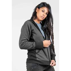 Performance Work Hoodie Grey on Charcoal - Best fit womens work hoodie in moisture wicking performance blend for function, warmt