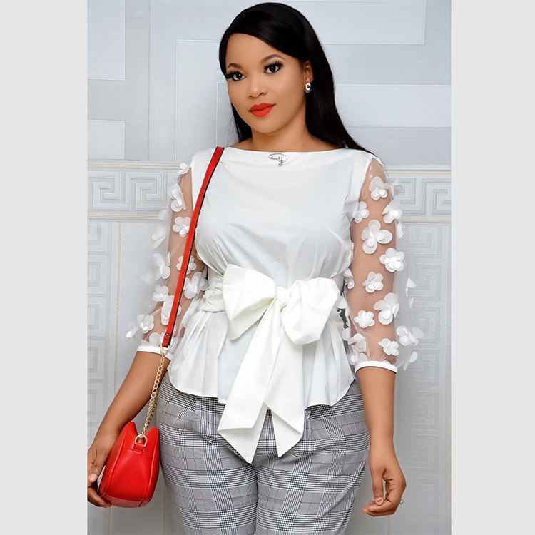 2020 INS Amazon Hot Sale African Women Blouses Bandage Bowknot Slim Plus Size Office Lady Clothes Tops