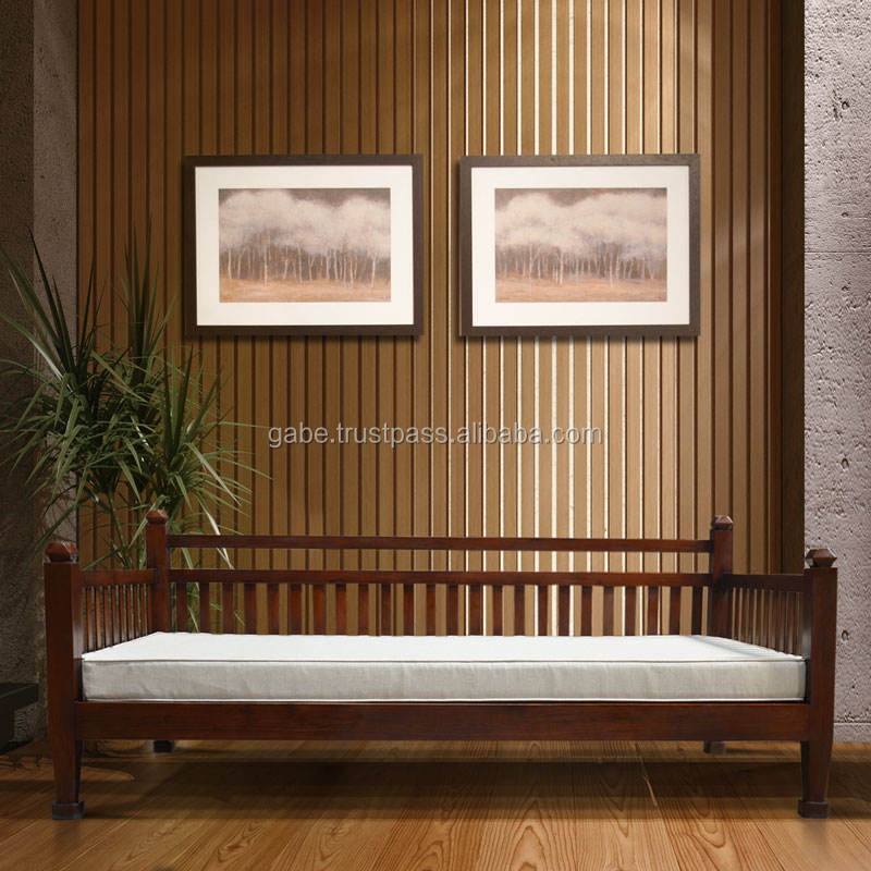 Sofa daybed solid teak wood Primitive with slat with cushion