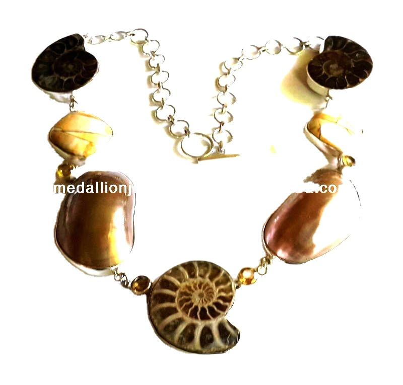 925 Solid Sterling Silver Natural Gemstone Nautilus Shell Ammonite & Mookaite Long Necklace