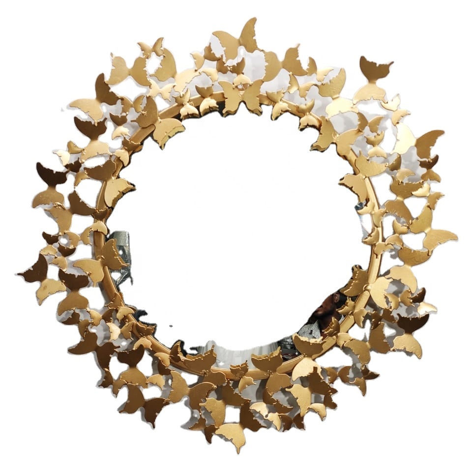 Butterfly Design Iron Metal Powder Coated Gold Finish Wall Decorative Mirror Best Modern Style