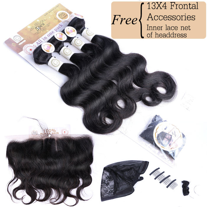 Packet hair body wave 100 % human hair 4 bundles and one frontal one set 250gram for make one head