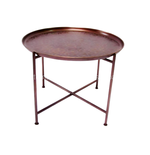 Antique Copper Finished Removable Hammered Tray Top Folding Coffee Table