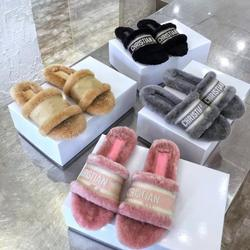 New Arrival Fashion Designer Fur Slippers