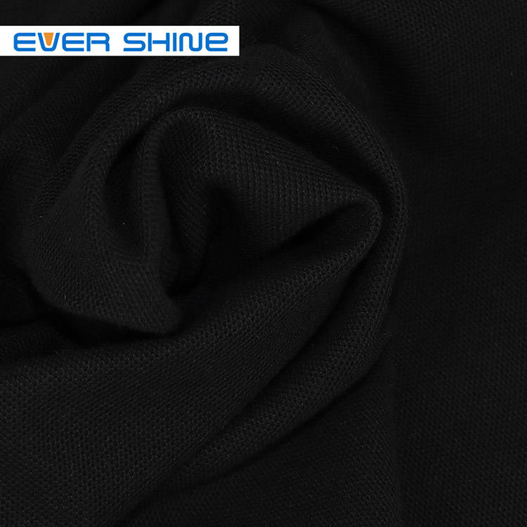 High quality 100% Organic cotton Protect skin Black Pique baby kids knitted cotton fabric for garment