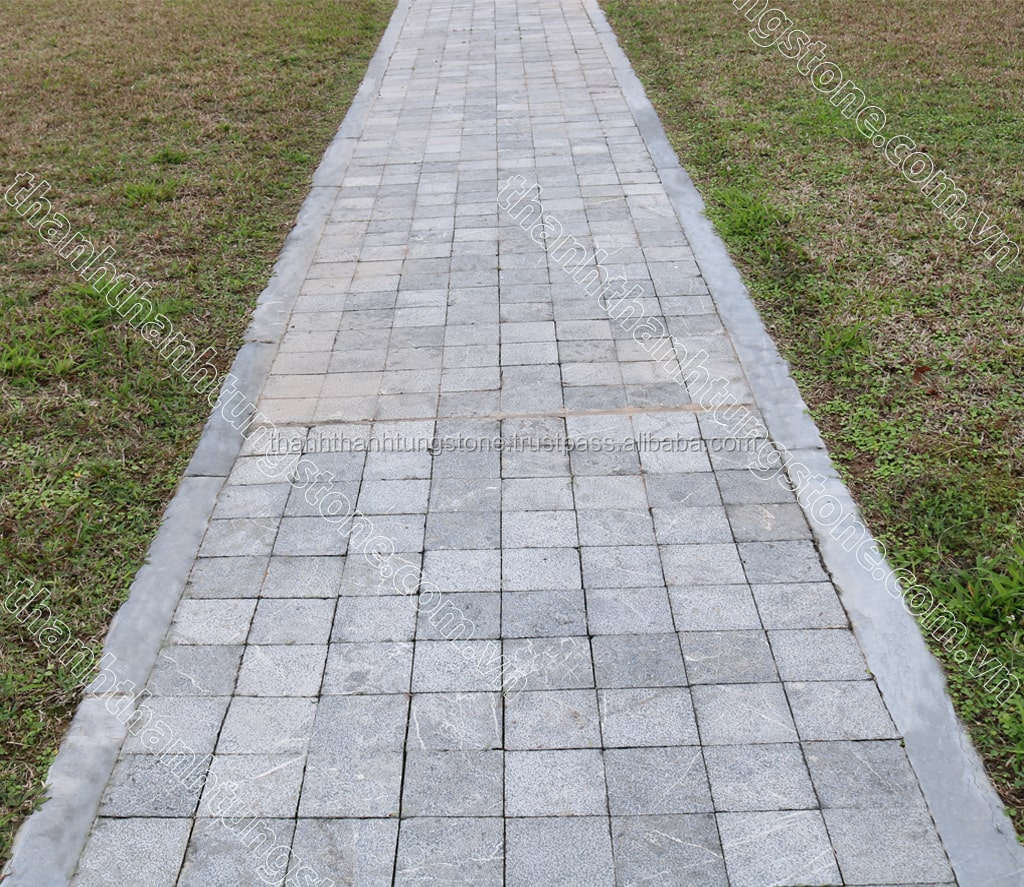 Vietnamese Brush Hammered With Blue Limestone Tile With Grinding Border, Natural Stone Tile For Paving Yard Garden and Squares