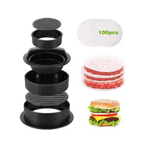 Plastic Burger Druk 3 In 1 Hamburger Druk Patty Maker Met 100 Ps Burger Papier Voor Bbq