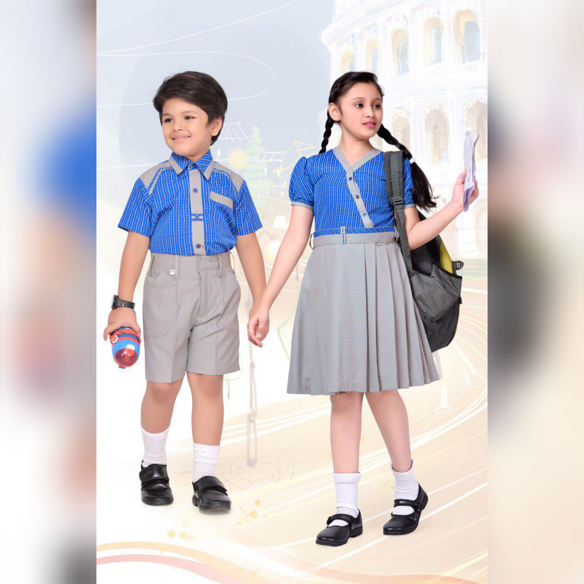 Designer Check school uniform for kindergarten kids