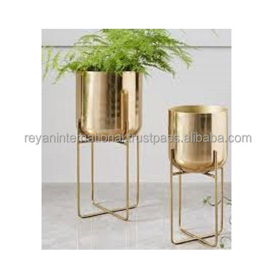 Gold Finished Planter On Stand For Indoor And Outdoor Use