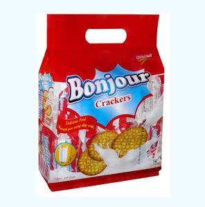 Bonjour Cracker Biscuits 17g Deliciously tempting Good Morning Crackers two piece pack in a colourful Carry Bag of 30 for Guinea
