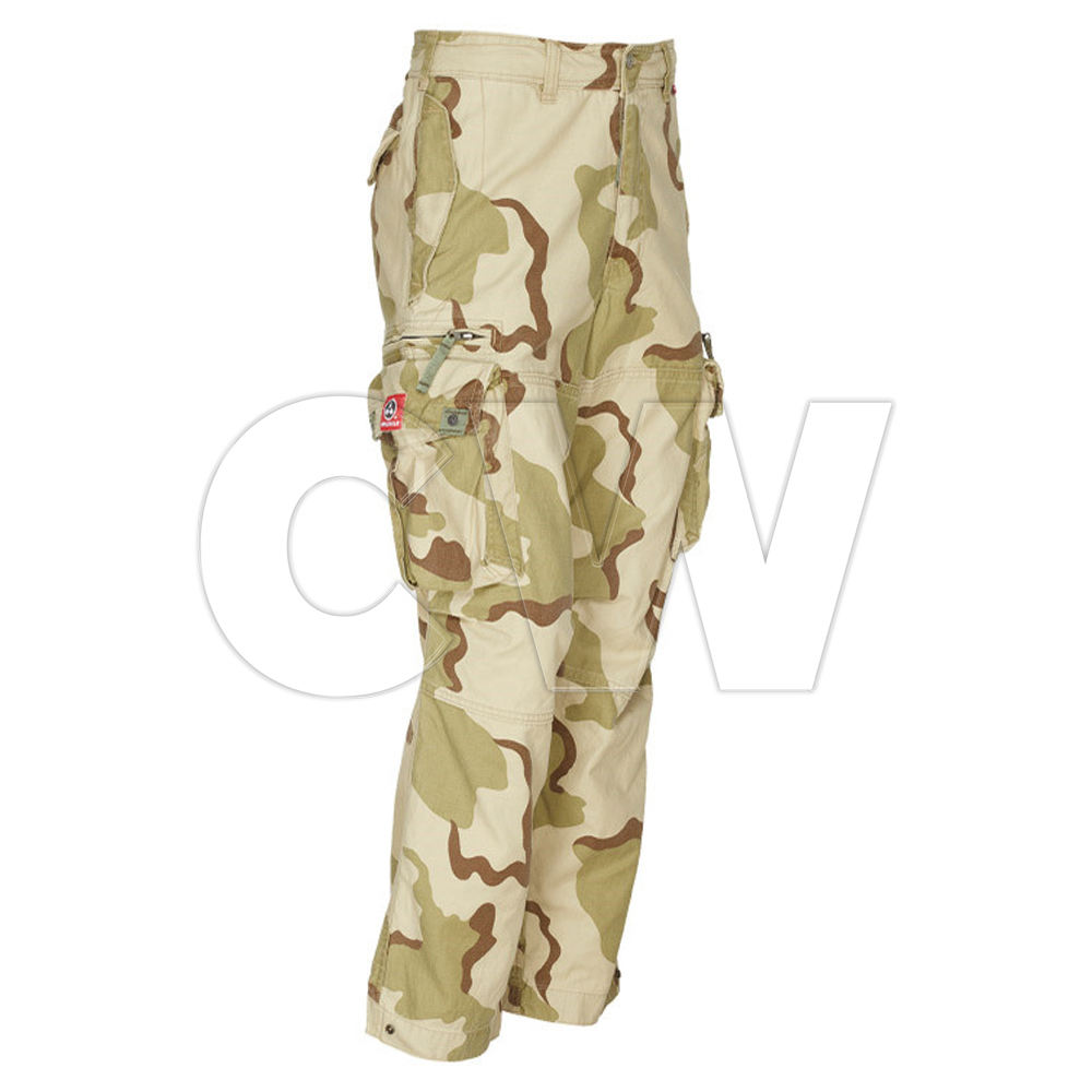 Khaki Color Camouflage Print Straight Fit Cargo hose