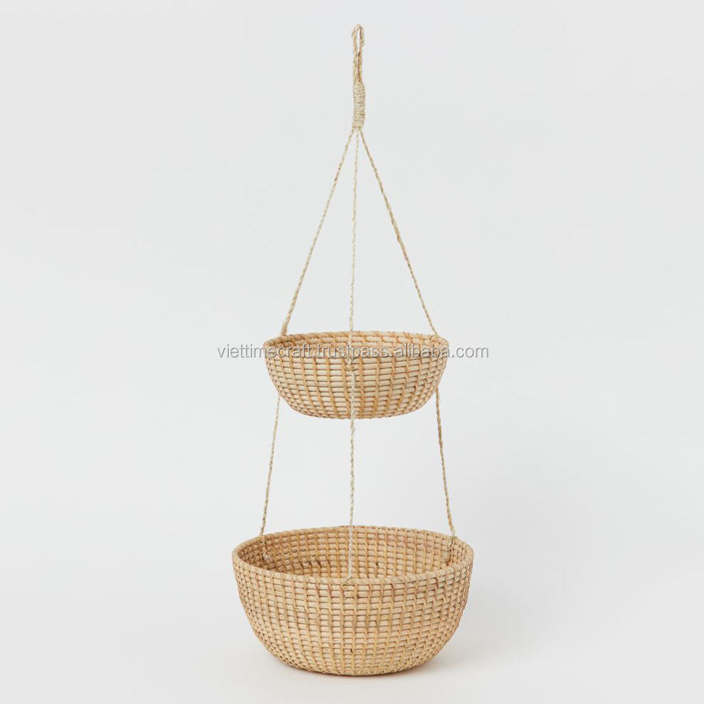 Hanging basket in rattan with two levels, Vintage rattan shelves Made in Vietnam