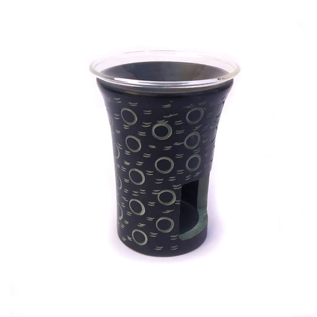 Black Soapstone Stone Aroma Oil Burner Tea Light Holder with circular hand carving with glass bowl and sieve