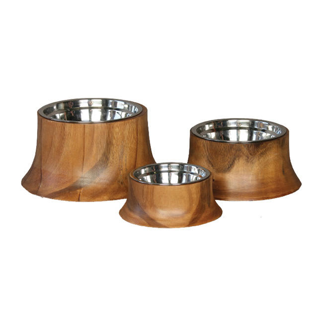 king Best Quality Stainless Steel Designer high rise wooden dog bowls