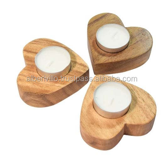 Heart Shaped Wooden Candle Holder Christmas Indoor Decoration Wholesale Supplier