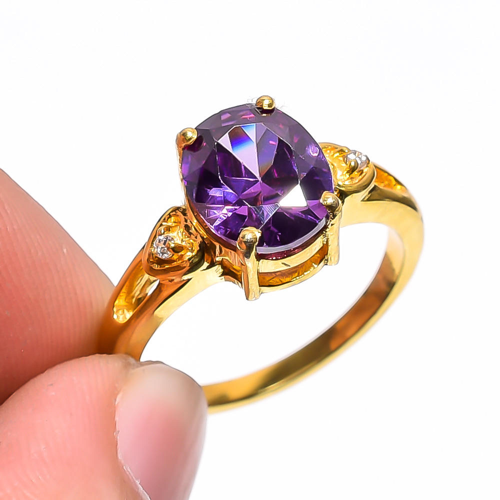 Amethyst Quartz Gemstone Designer Victorian Style Gold Plated 925 Sterling Silver Ring 7 US