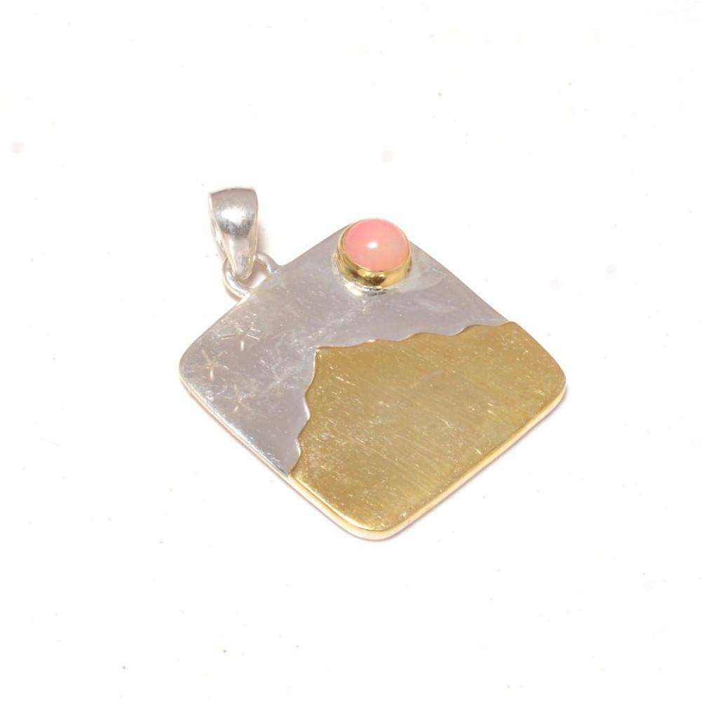 Wholesale Price Beautiful Indian Design Sterling Silver 925 Two Tone Plating Rhodochrosite Stone Mountain Pendant