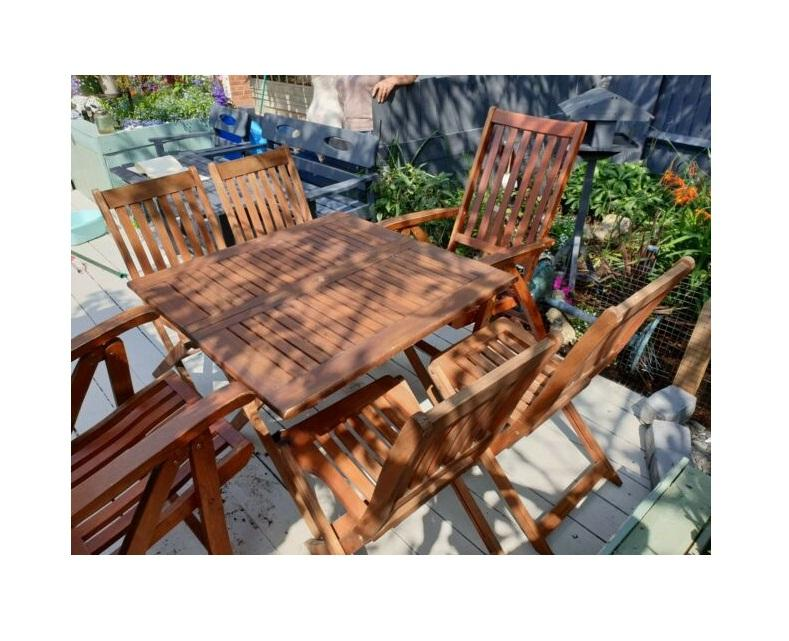 Outdoor Garden Wooden Chairs and Dining Table Set High Quality made in Vietnam