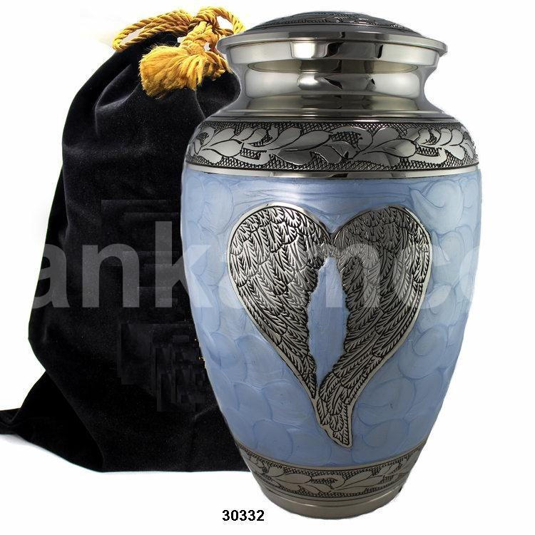 Loving Engraved Angel Wings Silver Blue Enamel Brass Urns By Ankamco India