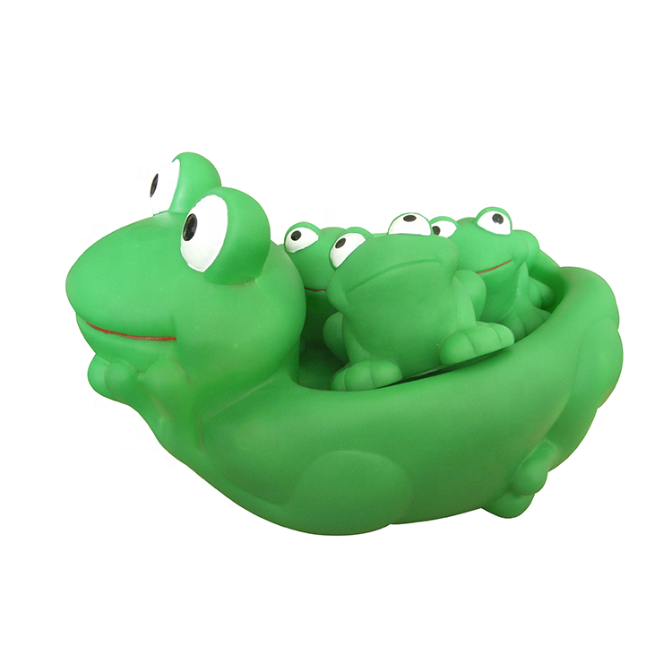 Wholesale Plastic Cute Bathroom Playing Animal Floating Rubber Frog Bath Toy Set