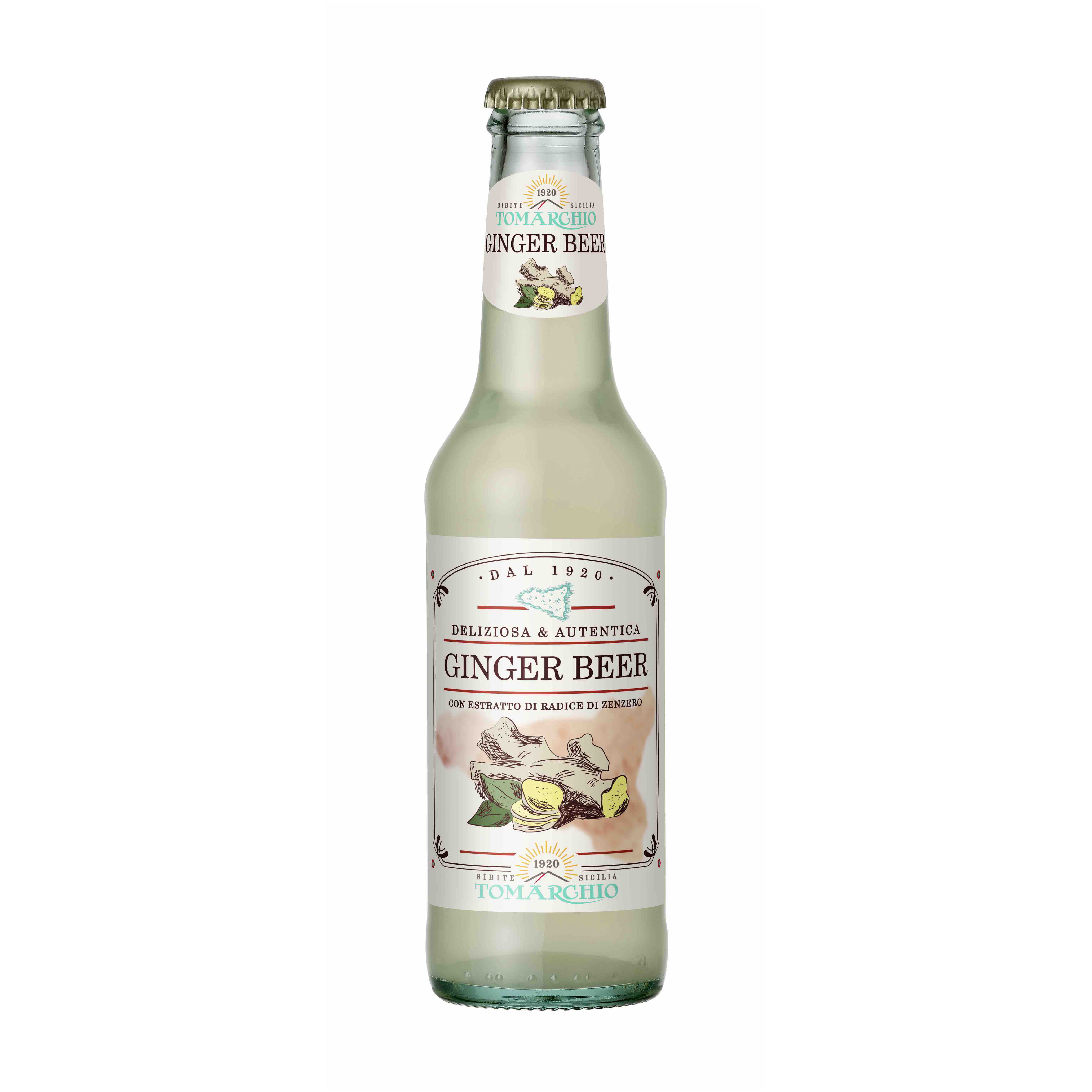 Soft Carbonated Drink Ginger Beer Flavour 275 ml Bottle Made in Italy - Top Quality Italian Ginger Beer