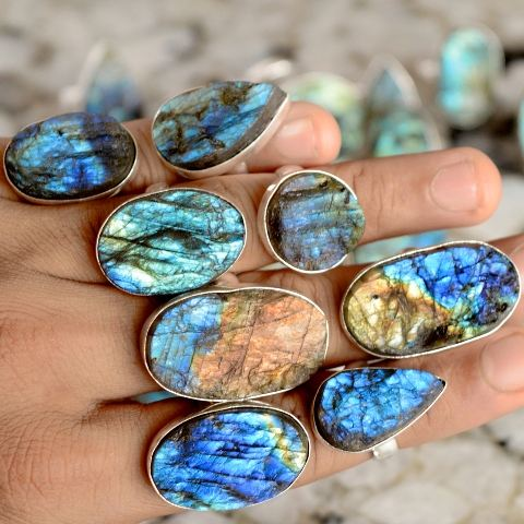 Wholesale labradorite druzy ring set natural labradorite handmade ring for low price ring wholesale labradorite lot