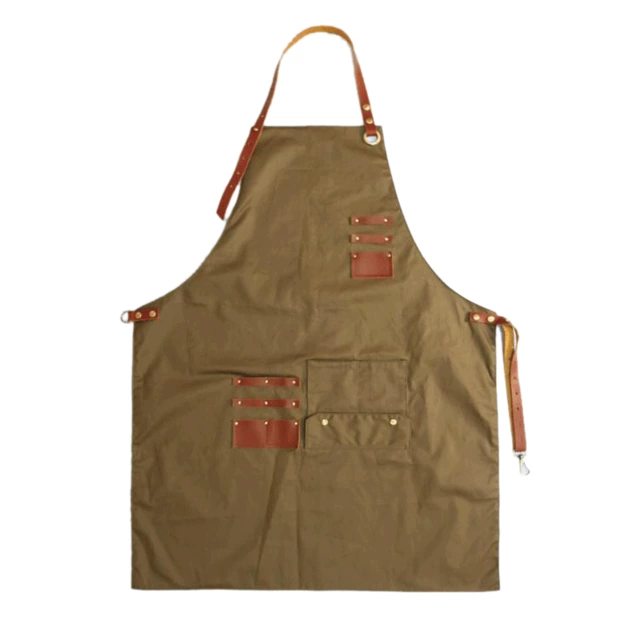 High Quality BBQ Denim Barber chef Apron with Genuine Leather Straps