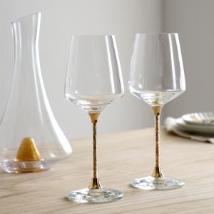 High Quality Lead-free Crystal Wedding Wine Glasses with Golden Flakes