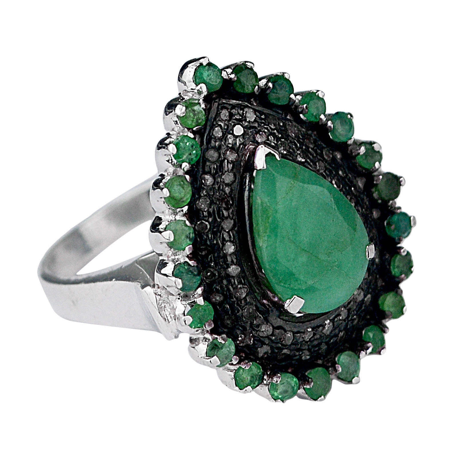 0.4 Cts Natural diamond, natural emerald vintage 925 Sterling Silver oxidized Ring jewellery collection