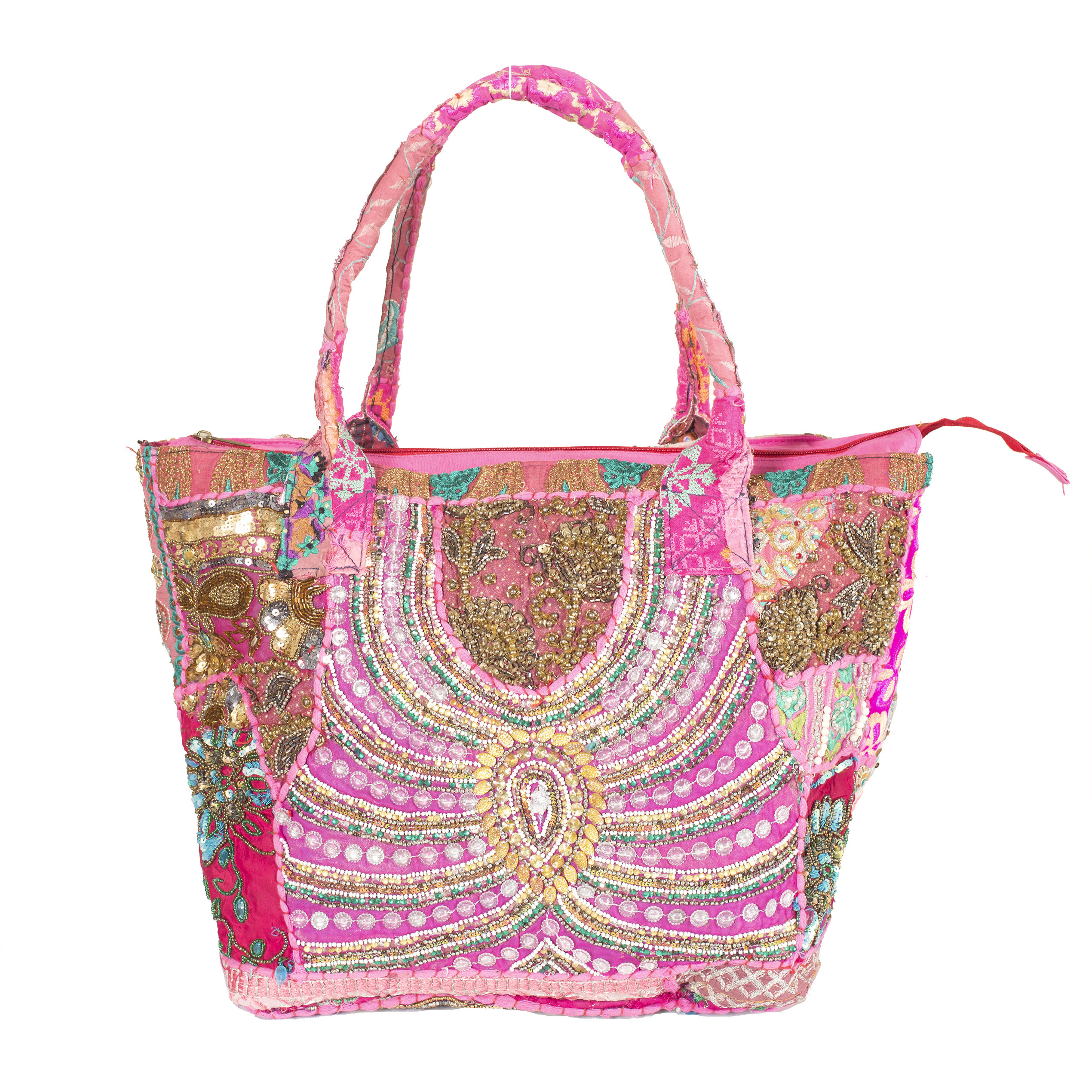 Indian vintage embroidered heavy bag women's fashion hobo bag shoulder bags pink