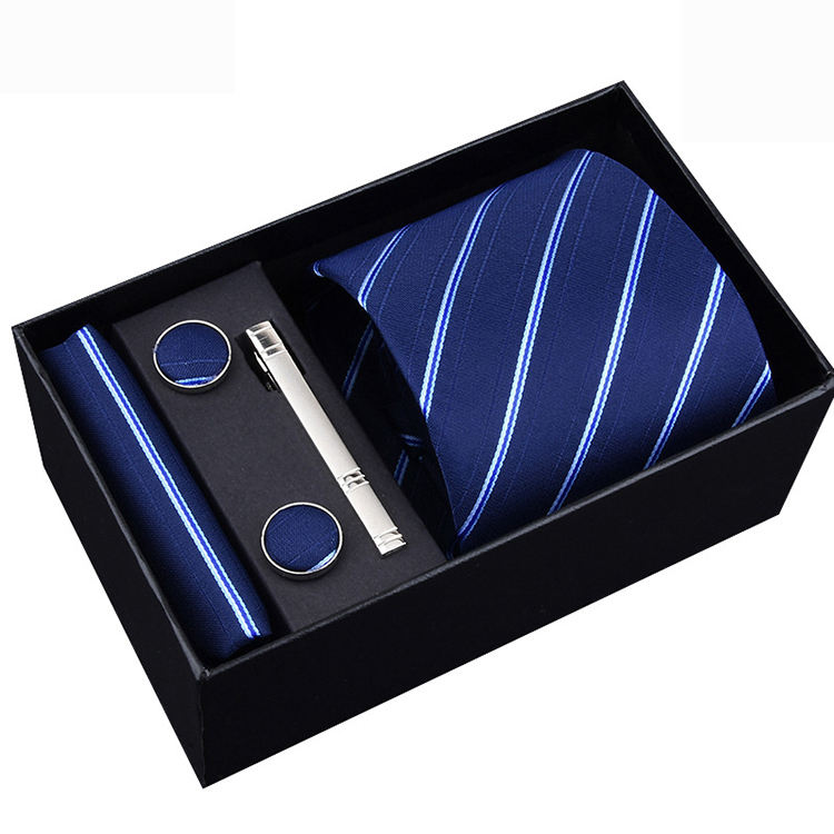 Custom Gift Box Wholesale Silk Polyester Italian Necktie Men Tie Set