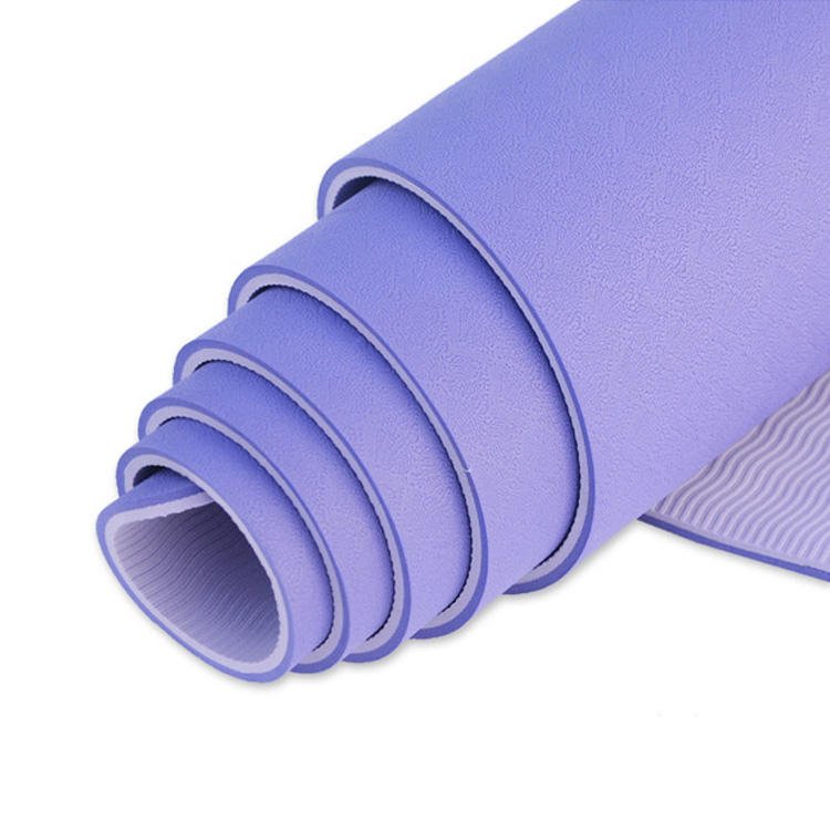 183cm Anti Tear Eco Friendly Double Color TPE Yoga Mats 6mm With Carring Strap