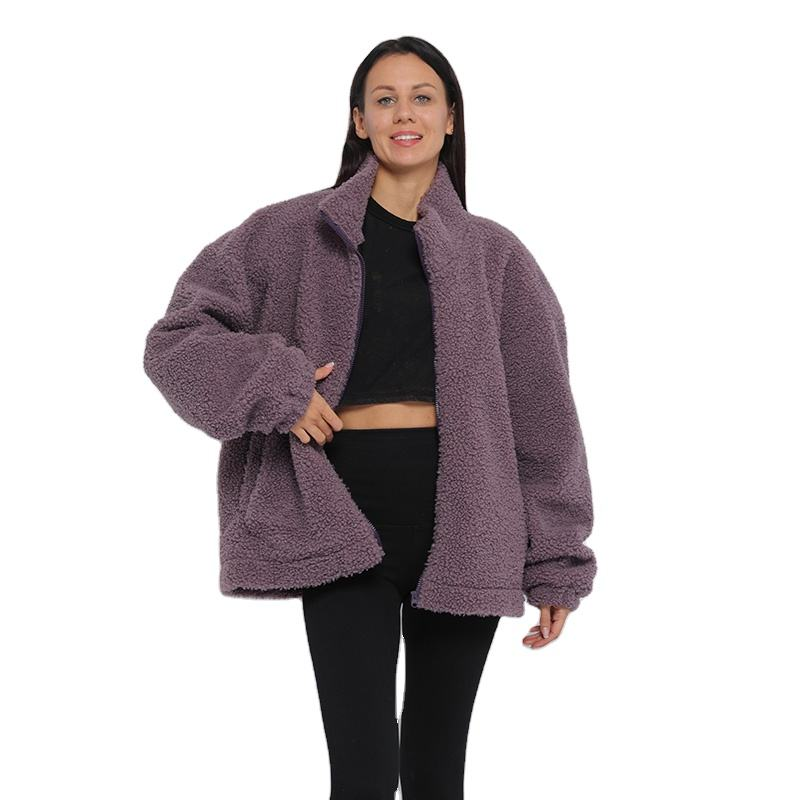 Wool casual Teddy sherpa Outwear jacket faux fur coat women with Fluffy Zip