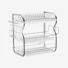3 tier 85cm white metal kitchen storage racks kitchen basket organizer dish drying rack over sink (GOLDSUN)
