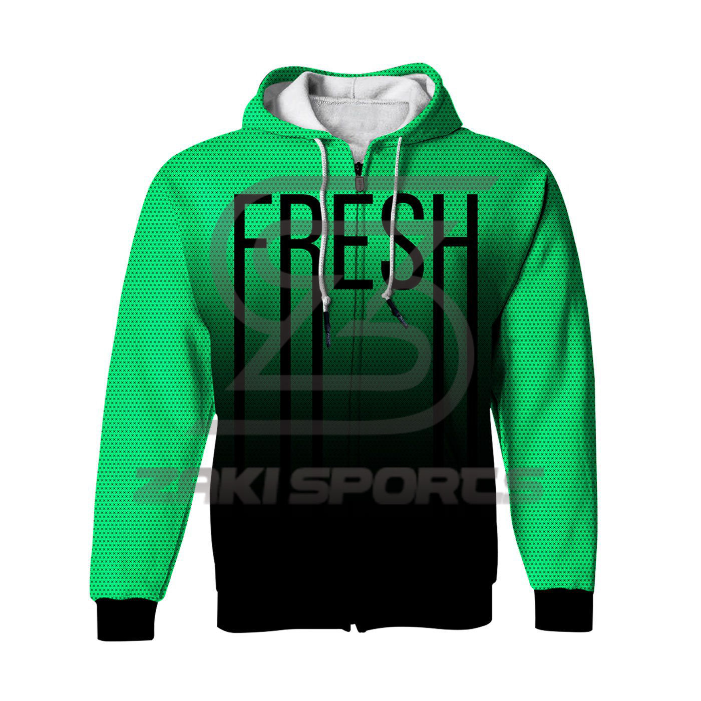 Fresh Neon Green Sublimation Zip Up Hoodie