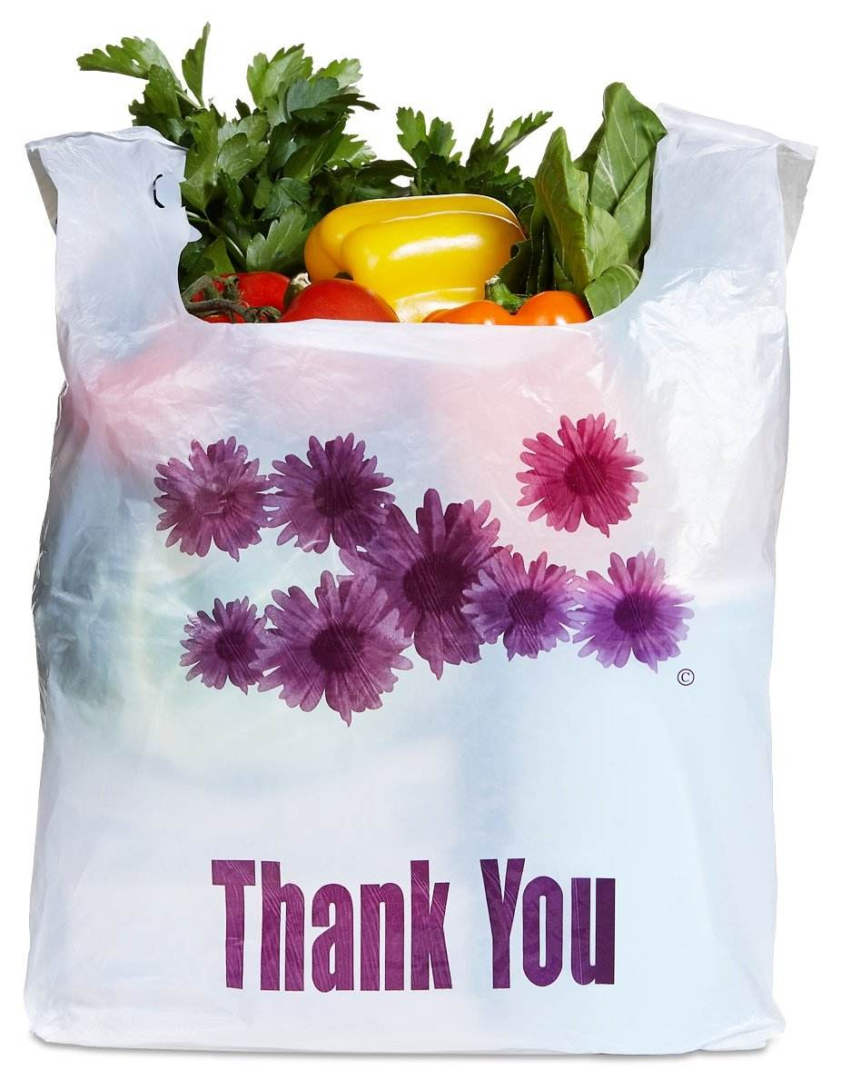 Purple Flower Thank You Plastic t-shirt shopping bags from Vietnam bags packaging manufacture