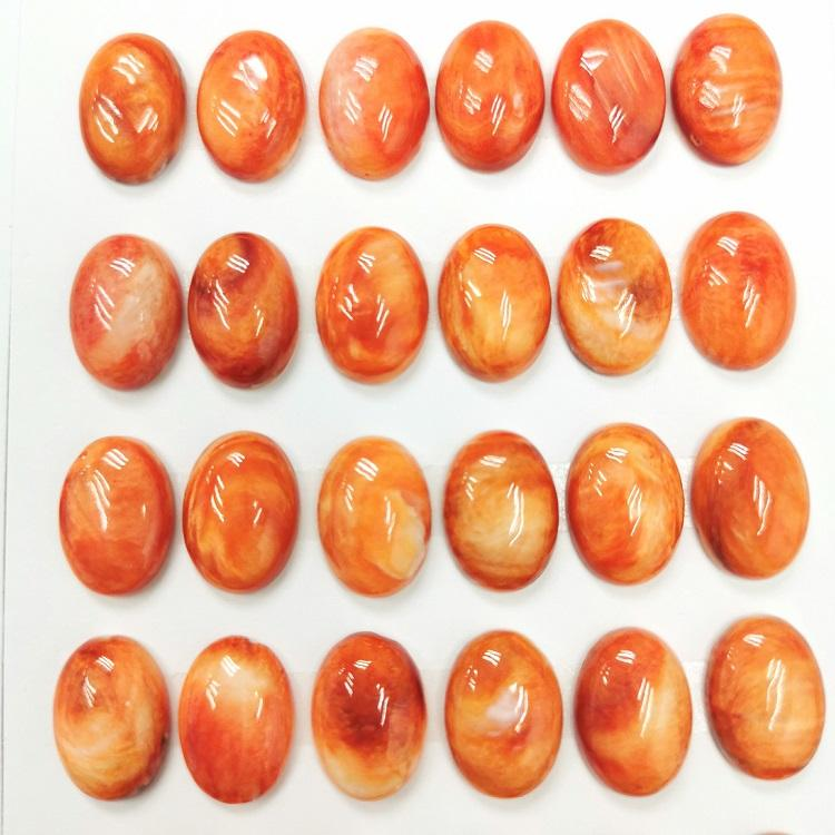 Wholesale Orange Loose Gemstone Spondylus Oval Cabochon Flat Back Native American Jewelry Material Spiny Oyster